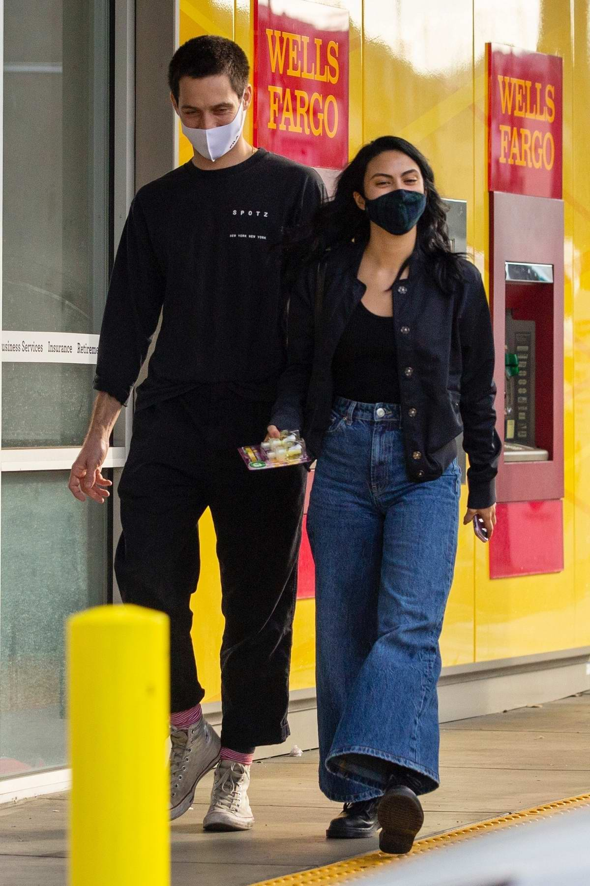 Camila Mendes gets her hair done at a salon before running a few errands with Grayson Vaughn in Studio City, California