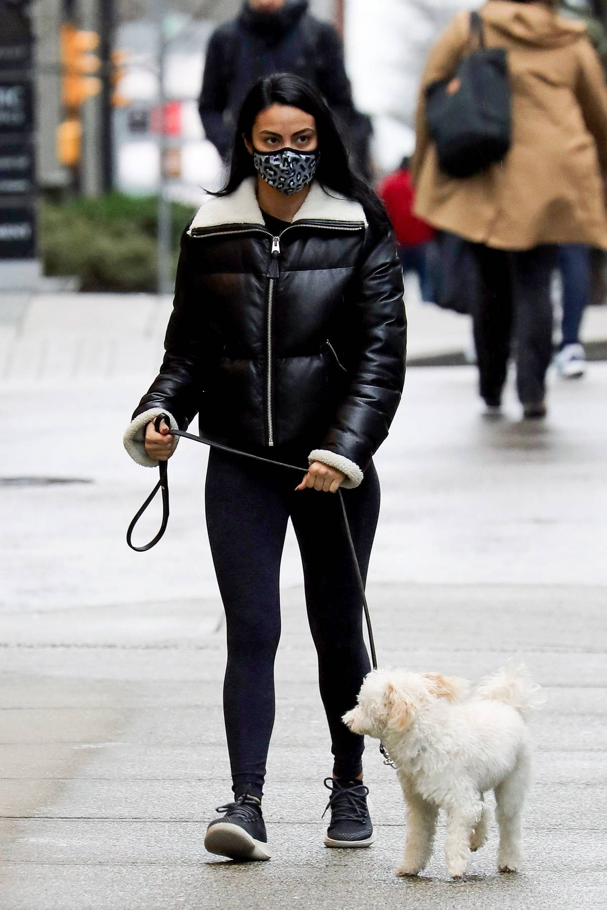 Camila Mendes stays warm in a black jacket and leggings while walking her dog in Vancouver, Canada