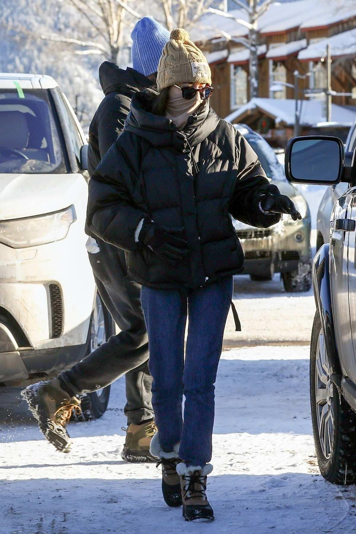 Dakota Johnson and Chris Martin visit Buttermilk Ski Area during their holiday stay in Aspen, Colorado