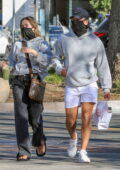 Delilah Hamlin and boyfriend Eyal Booker seen wearing matching hoodies from 'PrettyLittleThing' in Malibu, California