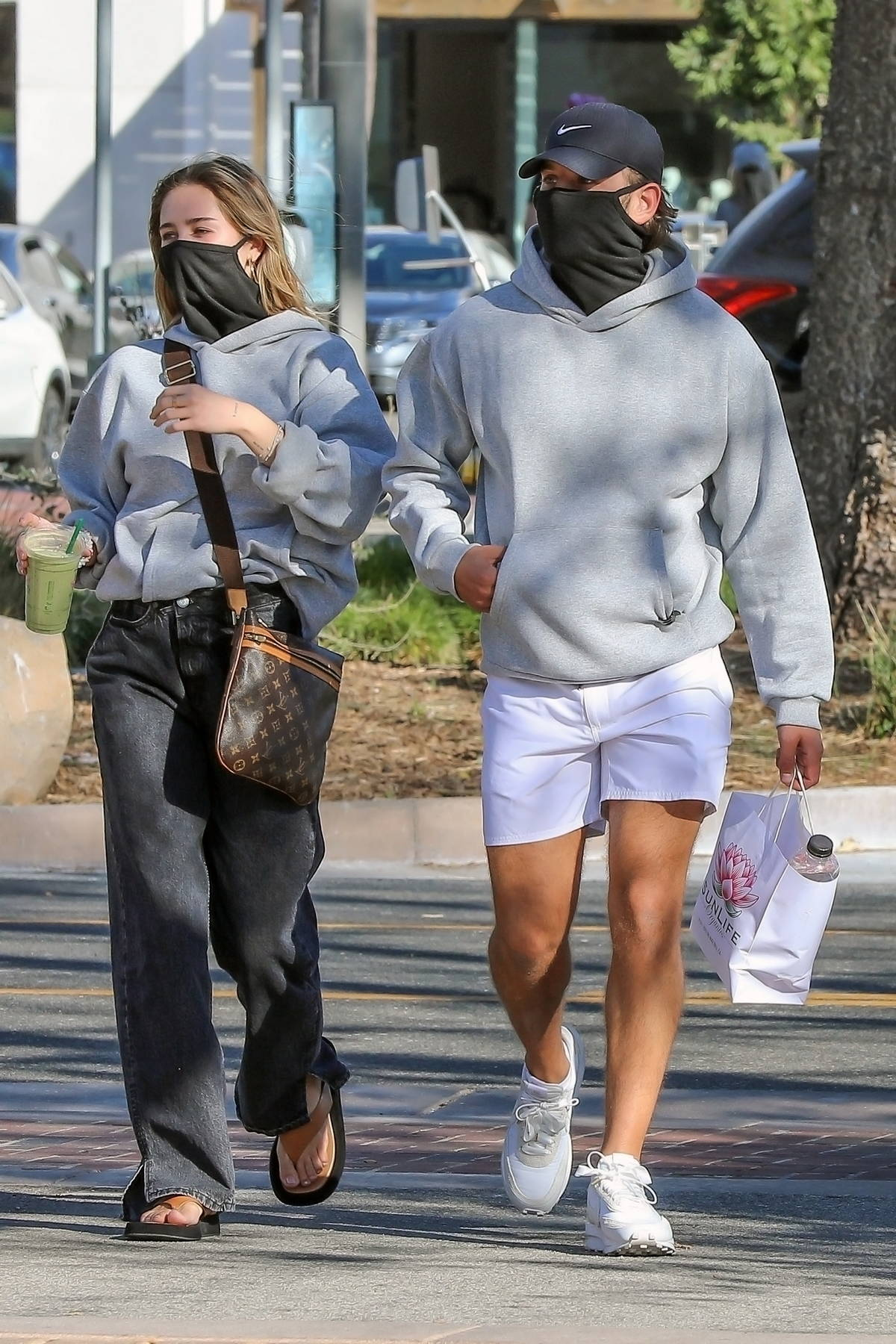Delilah Hamlin and boyfriend Eyal Booker seen wearing matching hoodies from 'PrettyLittleThing' in Malibu, California