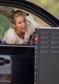 Elsa Pataky makes a pit-stop for Happy Meals at a McDonals's Drive-Thru on a road trip with her kids and her mother in Byron Bay, Australia