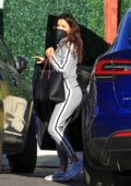 Eva Longoria spotted in grey sweatsuit while out for a business meeting with Mario Lopez in West Hollywood, California