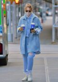 Gigi Hadid looks trendy in all denim outfit during a coffee run with her mother Yolanda in SoHo, New York City
