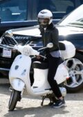 Gwyneth Paltrow rides her scooter home after a hiking session in Santa Monica, California