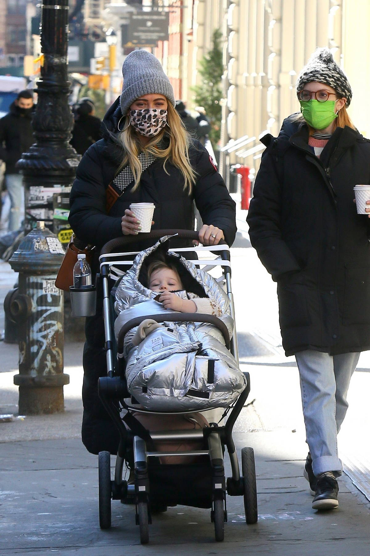 Hilary Duff enjoys her day off from filming with a stroll with her daughter and Molly Bernard in New York City