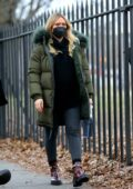 Hilary Duff stays warm in a parka and leggings while on the set of 'Younger' in Brooklyn, New York