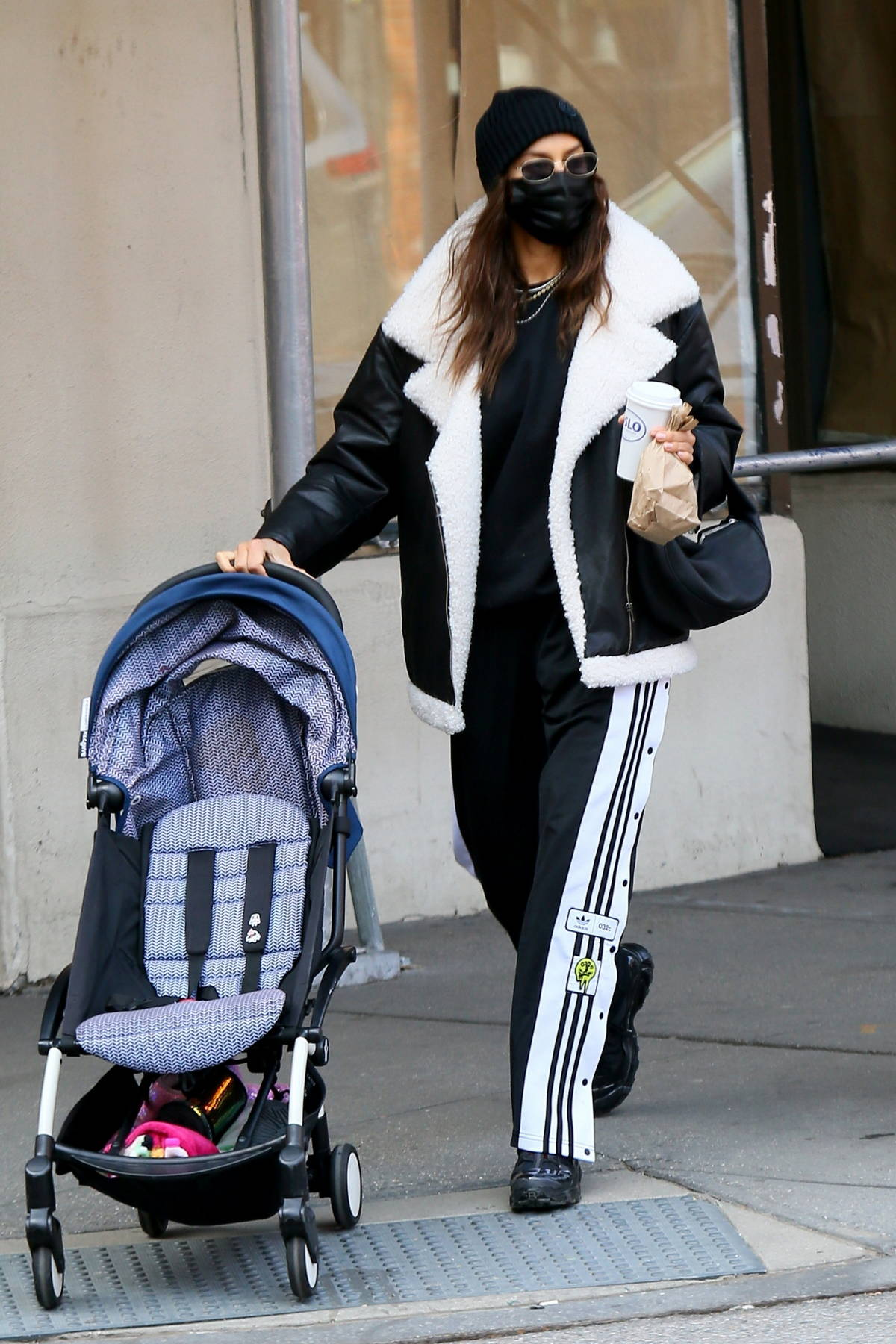 Irina Shayk looks stylish in monochrome while out to pick up her daughter from school in New York City