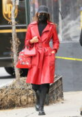 Irina Shayk looks stylish in red leather jacket with black boots while out to pick up her daughter from school in New York City