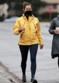 Jennifer Garner sports a yellow jacket with leggings as she steps out for coffee with a friend in Brentwood, California