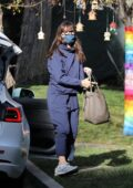 Jennifer Garner stays cozy in all-blue sweats while checking her new property in Brentwood, California