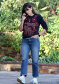 Jennifer Garner takes a phone call while out on a stroll in Brentwood, California