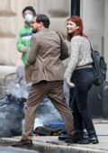 Jennifer Lawrence and Leonardo DiCaprio share a laugh after a scene on 'Don't Look Up' in Boston, Massachusetts