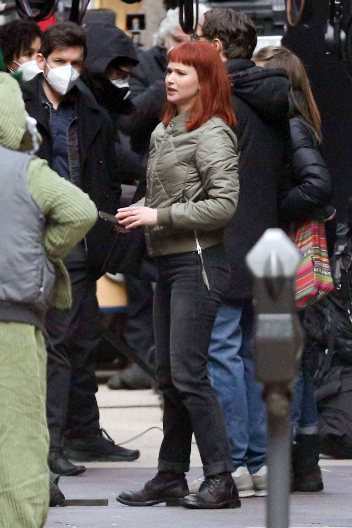 Jennifer Lawrence spotted while filming a scene for 'Don't Look Up' in downtown Boston, Massachusetts