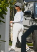 Jennifer Lopez slips into all-white loungewear as she arrives at a house in Key Biscayne, Florida