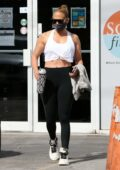 Jennifer Lopez sports tank top and leggings for a workout session at the gym in Miami, Florida