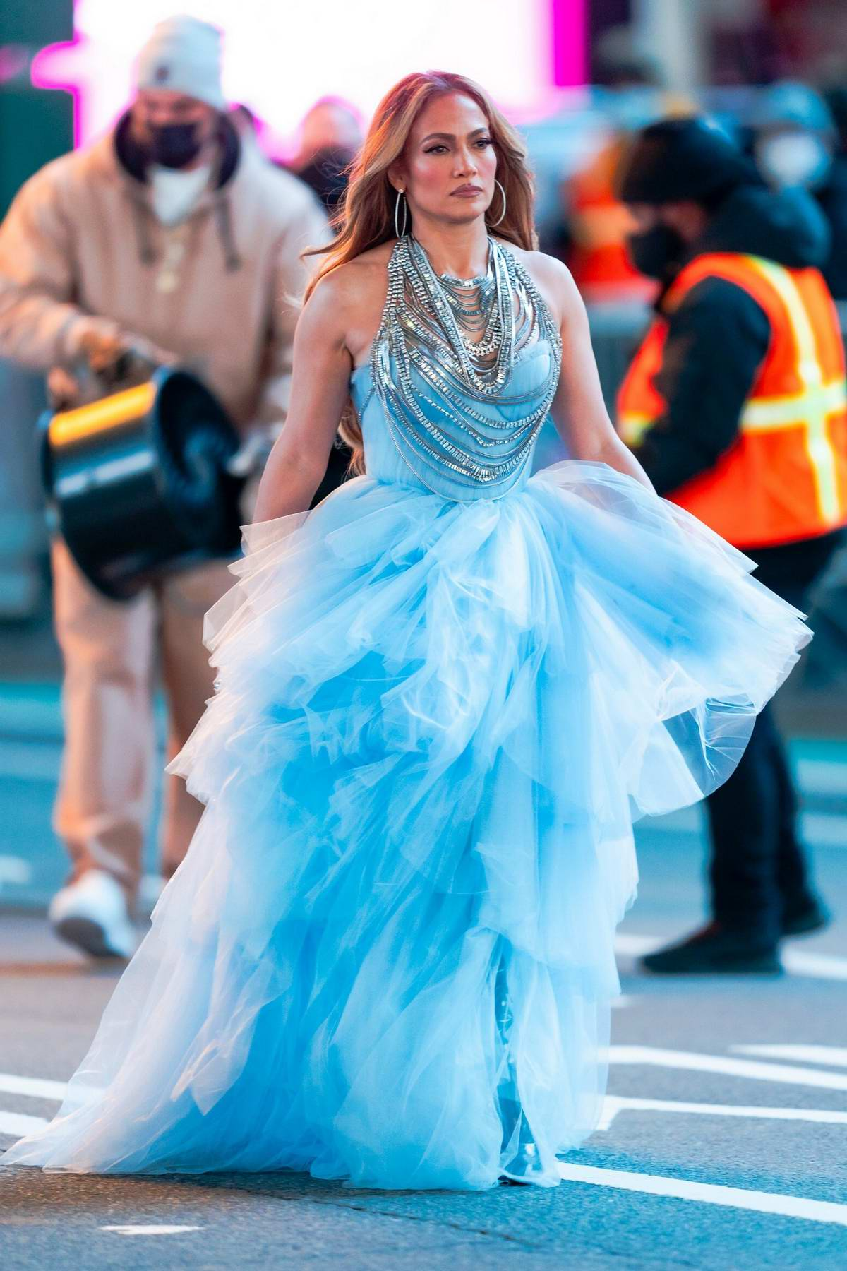 Jennifer Lopez stuns in a blue dress at the New Year's Rockin' Eve performance rehearsal in Times Square, New York City