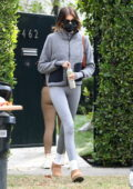 Kaia Gerber dons a grey jacket and leggings as she leaves a Pilates studio in Los Angeles
