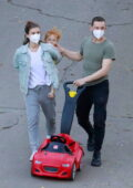 Kate Mara and Jamie Bell take their daughter out for some fresh air around the neighborhood in Los Feliz, California