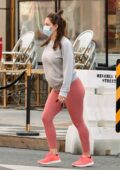 Katharine McPhee shows her baby bump in a grey sweatshirt and pink leggings while running errands in Beverly Hills, California