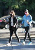Katherine and Christina Schwarzenegger seen leaving after their tennis practice in Santa Monica, California