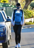 Katherine Schwarzenegger takes her daughter out for an evening stroll in Santa Monica, California