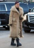 Kylie Jenner looks stylish in a fur-trimmed coat during a shopping trip to Ralph Lauren on New Years Day in Aspen, Colorado