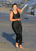 Leighton Meester enjoys a day of surfing with husband Adam Brody in Malibu, California