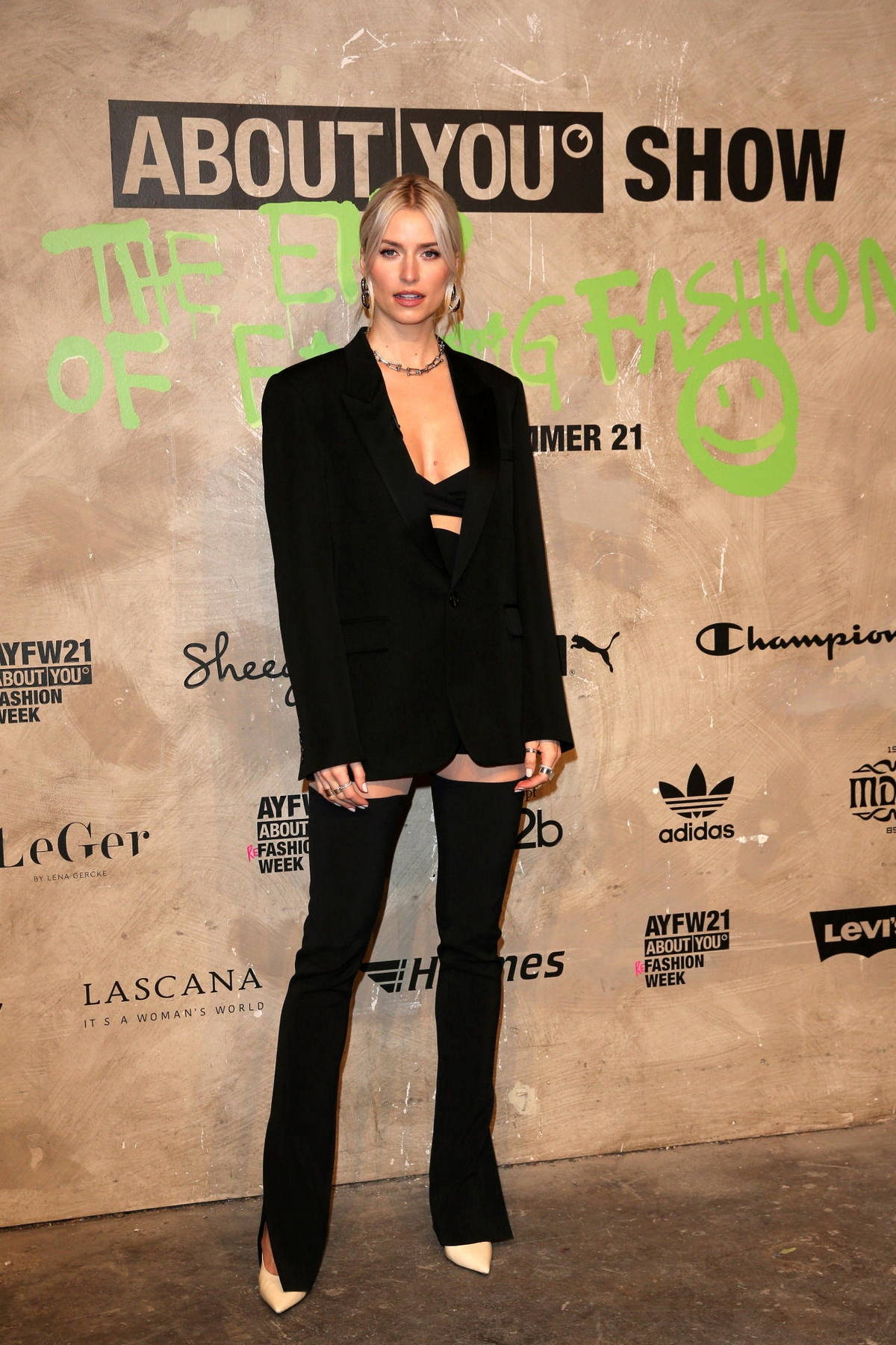 Lena Gercke attends the 'About You' Fashion Show in Berlin, Germany