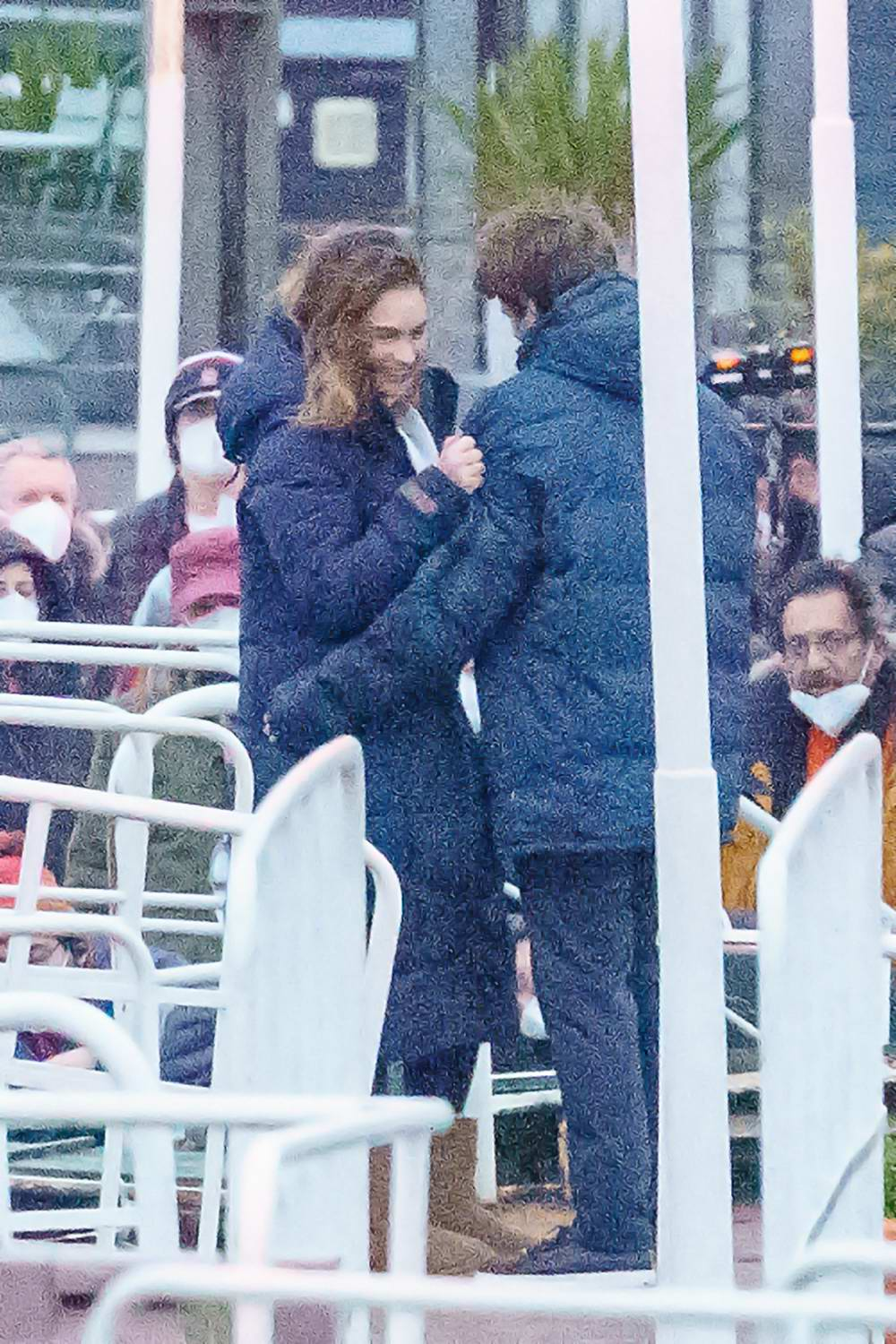 Lily James shares an on-screen kiss with her co-star on the set of 'What's Love Got To Do With It' in London, UK