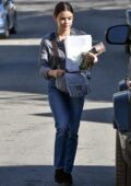 Lucy Hale looks great in a grey shirt and jeans as she leaves a business meeting in Los Angeles