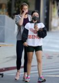 Lucy Hale puts on a leggy display as she grabs a coffee after lunch with friends in Los Angeles