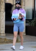 Lucy Hale rocks a tie-dye hoodie and legging shorts while out to grabs coffee and lunch to-go in Hollywood, California