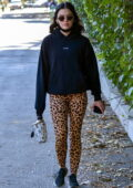 Lucy Hale sports a black hoodie and animal print leggings for a hike session in Los Angeles
