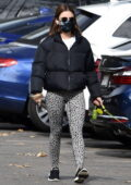 Lucy Hale wears black puffer jacket and animal print leggings while out for a hike with her pup in Los Feliz, California