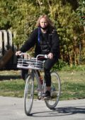 Malin Akerman goes for a bike ride around her neighborhood in Los Feliz, California