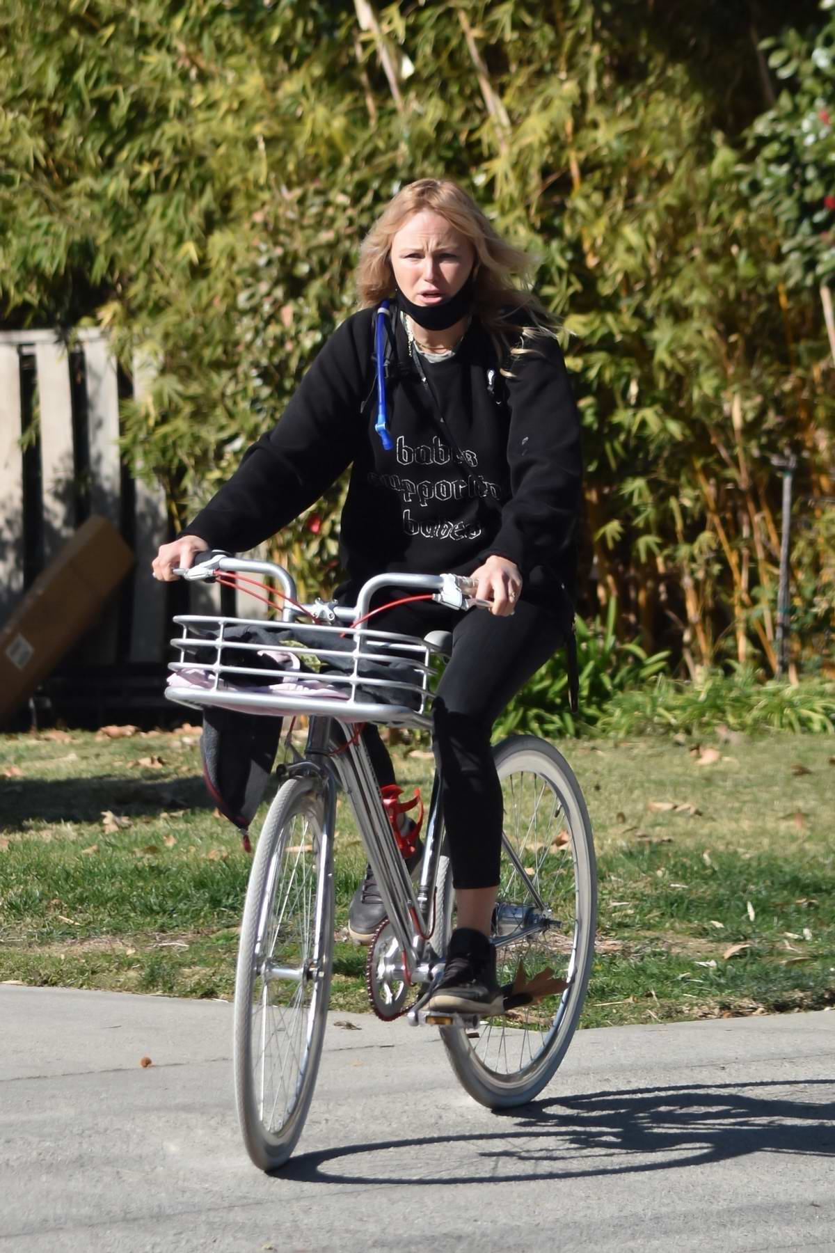 Malin Akerman goes for a bike ride around her neighborhood in Los Feliz, California