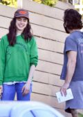Margaret Qualley is all smiles while visiting a friend's house with Shia LaBeouf in Studio City, California