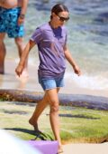Natalie Portman enjoys a day with her family hunting seashells at the beach in Sydney, Australia