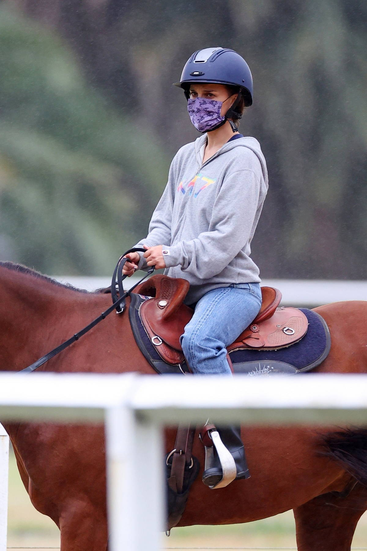 Natalie Portman seen during a horse riding lesson in Centennial Park, Sydney, Australia