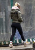 Scarlett Johansson bundles up in a puffer jacket while out to grab lunch on a chilly day in The Hamptons, New York