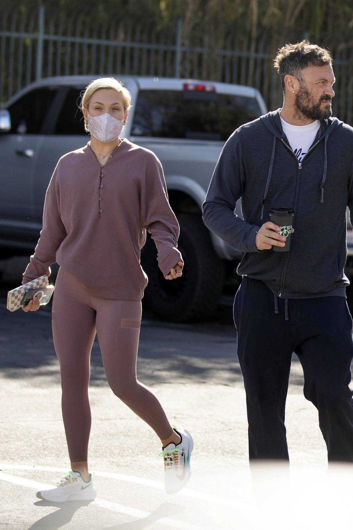 Sharna Burgess and Brian Austin Green seen leaving 10 Speed coffee together in Calabasas, California