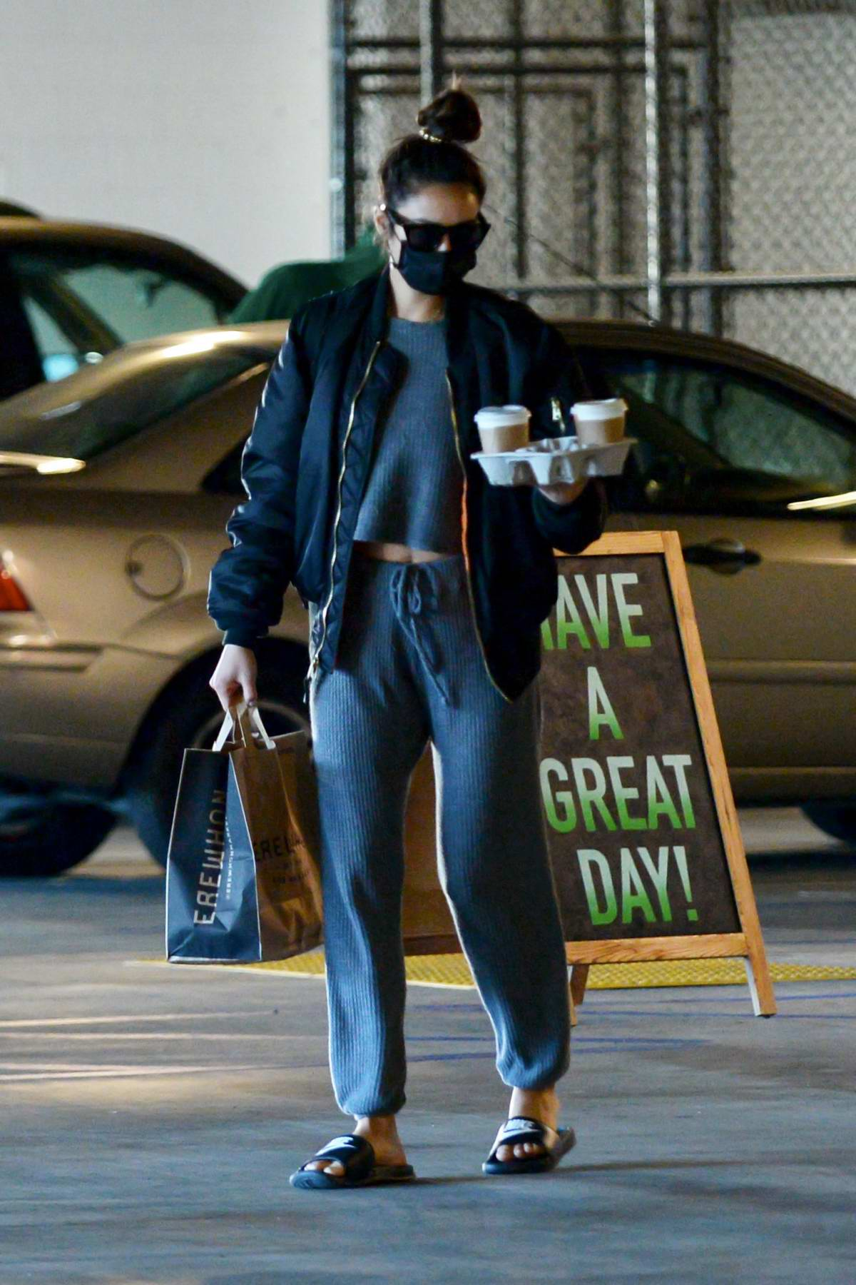 Shay Mitchell keeps it casual for a coffee run and some grocery shopping at Erewhon in Los Angeles