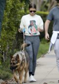 Sofia Richie donned 'Inamorata' sweatshirt and grey leggings while walking her family dog in Beverly Hills, California