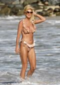 Victoria Silvstedt dons a floral print bikini as she enjoys the beach in St Barth, France
