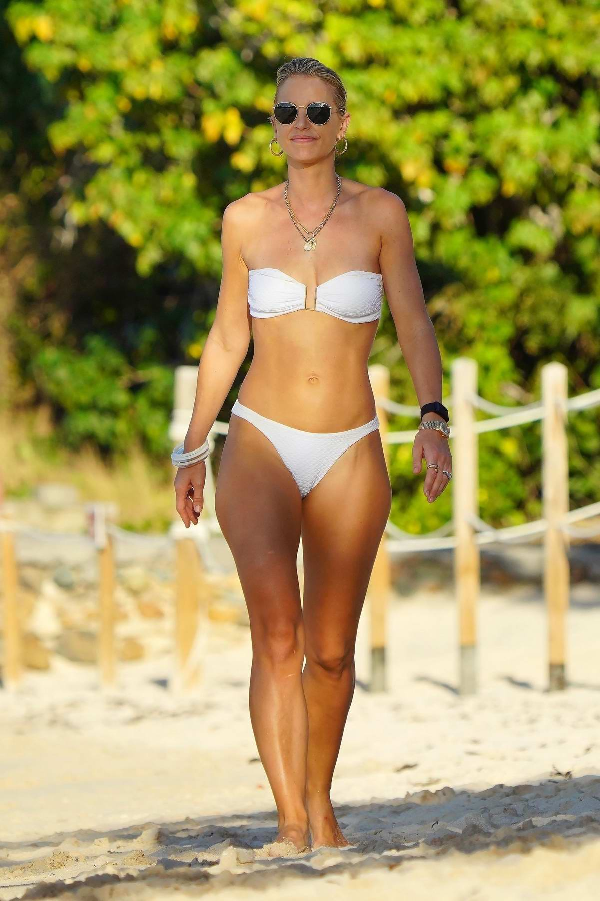 Vogue Williams looks great in a white bikini as she enjoys a day at the beach in St Barts, France