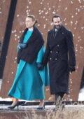 Yvonne Strahovski and Joseph Fiennes film outdoor scenes for 'Handmaid's Tale' in Toronto, Canada