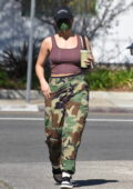 Addison Rae rocks tank top and camo pants while making a juice run in Los Angeles