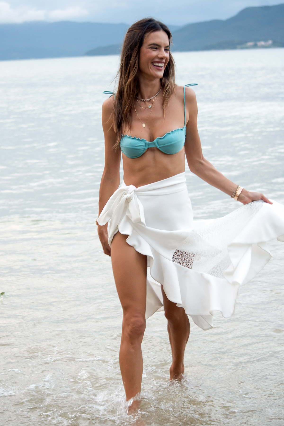 Alessandra Ambrosio celebrates 2nd anniversary of Gal Floripa with friends and family on a beach ceremony in Florianopolis, Brazil