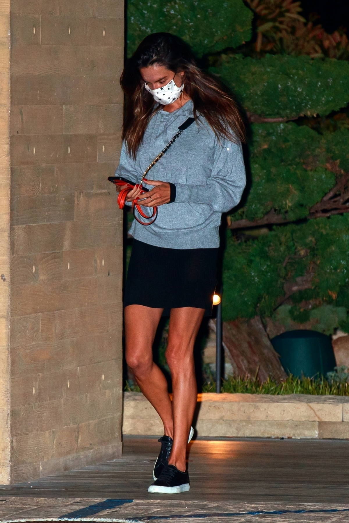 Alessandra Ambrosio keeps it casual as she steps out to late night dinner with a male friend at Nobu in Malibu, California